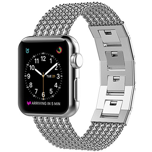 Glebo Compatible with Apple Watch Band 42mm Series 3 Women Men iWatch Band 44mm Series 4, Stainless Steel Cuff Strap Wristbands Metal Band Replacement for Apple i-Watch Band Series 4 3 2 1, Silver