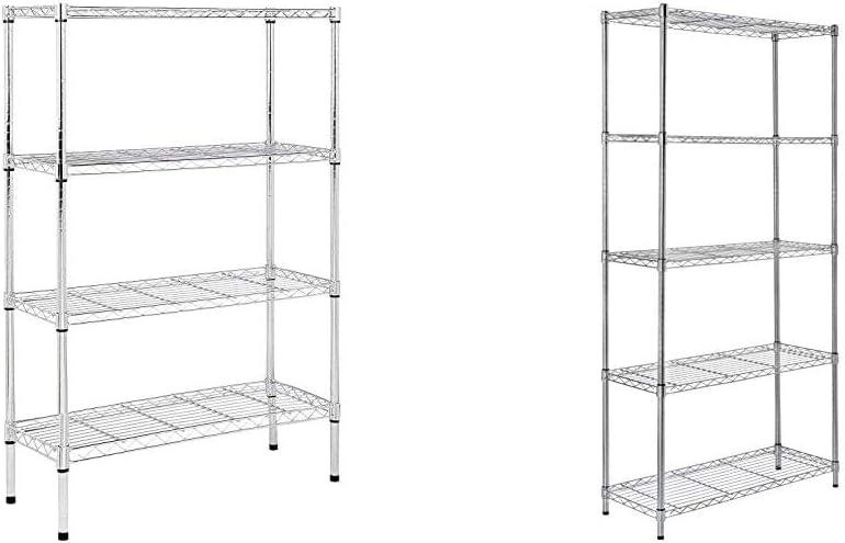 AmazonBasics 4-Shelf Adjustable, Heavy Duty Storage Shelving Unit (350 lbs), Chrome (36L x 14W x 54H) & 5-Shelf Adjustable, Heavy Duty Storage Shelving Unit (350 lbs), Chrome, (36L x 14W x 72H)
