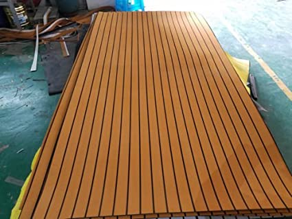 YJC EVA Light Brown Foam Faux Teak Decking Sheet with Black Seam Marine 35\
