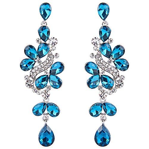 (BriLove Wedding Bridal Dangle Earrings for Women Victorian Style Crystal Cluster Teardrop Leaves Dangle Earrings Blue Topaz Color Silver-Tone)