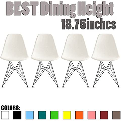 2xhome - Set of Four (4) White - Eames Side Chair Eames Chair White Seat Chrome Metal Legs Eiffel Dining Room Chairs No Arm Arms Armless Molded Plastic Seat Dowel Leg - Chair Chrome Base
