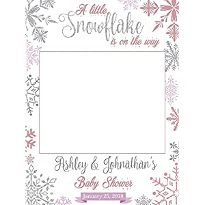Large Custom snowflakes Baby Shower Photo Booth Prop - Sizes 36x24, 48x36; Personalized Social Media Style Baby Shower Photo Booth Frame, Winter baby shower, Little snowflake ; Handmade Nursery Decor