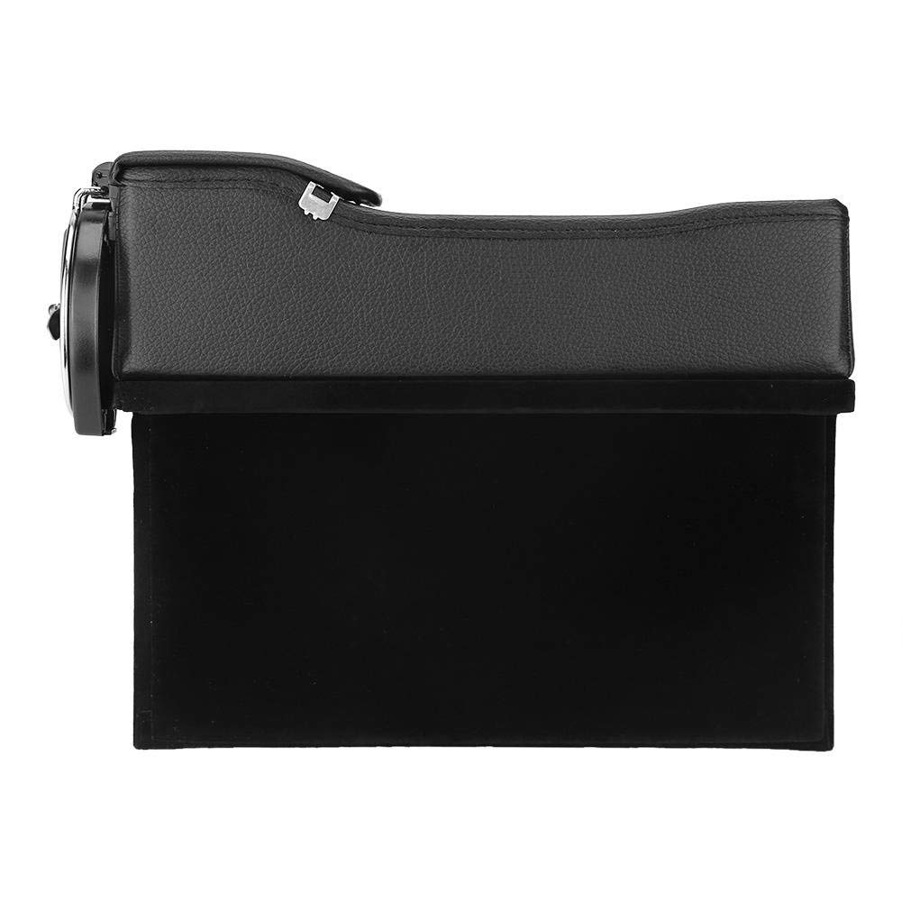 Black, 1 Set Black ZHOUYANG Car Seat Storage Box,PU Leather Side Pocket Organizer with Coin Collector and Cup Holder