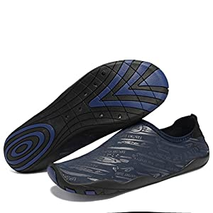 FANTINY Men and Women's Barefoot Quick-Dry Water Sports Aqua Shoes with 14 Drainage Holes for Swim, Walking, Yoga, Lake, Beach, Garden, Park, Driving, Boating,SVD,Navy,43