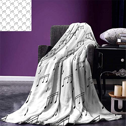 YOLIKA Music Digital Printing Blanket Musical Notes Theme Melody Sonata Singing Song Clef Tunes Hand Drawn Style Pattern Summer Quilt Comforter Charcoal Grey -