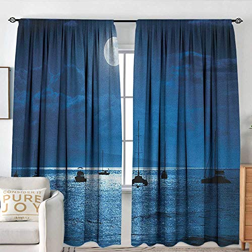 Petpany Living Room Curtains Ocean,Dramatic Photo of A Nighttime Sky Full Moon Over A Calm Ocean Scene in Maui Hawaii, Navy White,Darkening and Thermal Insulating Drapes 54