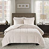 3 Piece Elegant Faux Fur Comforter Set King/Cal King Size, Featuring Lush Wavy Geometric Pleated Stripes Patterned Bright Colored Furry Bedding, Modern Artistic Stylish Supreme Warmth Bedroom, Cream