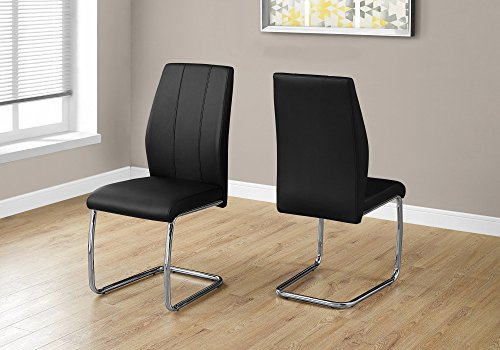 Monarch Specialties I 1076 2 Piece Dining Chair-2PCS/39 H Leather-Look/Chrome, Black