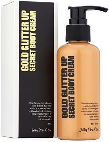 Gold Glitter up! Secret Body Cream - Gold Bond Lotion - After Sun Shimmer Lotion + Vitamin B3 & Aloe Vera Gel - Body glitter lotion & Smoothing Lotion