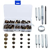 Snap Button Kit, Snap Fasteners Clothing Snaps Tool Kit No-Sew Metal Press Studs with Storage Box