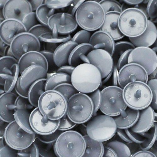 100 Glossy Silver Gray (B13) Round KAM Plastic Resin Snaps Craft Baby Bib Cloth Diaper