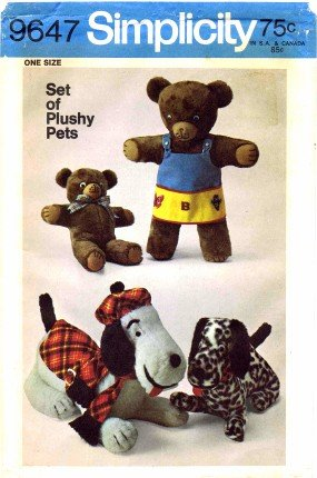 Dog Coat Plush (Simplicity 9647 Sewing Pattern Crafts Plush Bears Dogs)