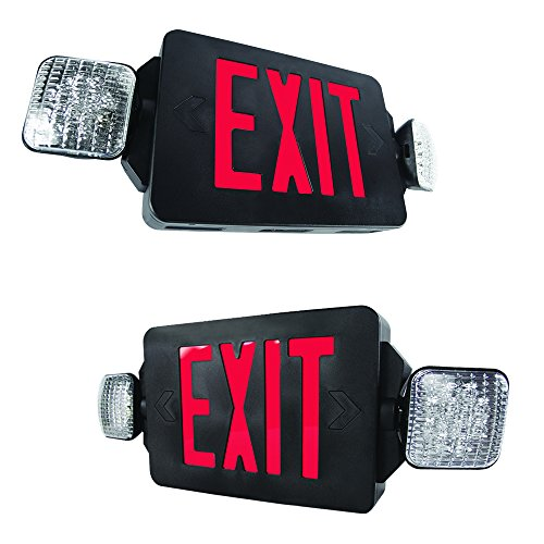 eTopLighting [2 Pack] LED Exit Sign Emergency Light, Rotating Side Lamp, Black Body & Red Letter, Extra Face Plate/Double Face, ()