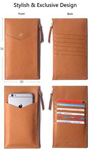 Borgasets Ultra-Thin Women's Wallet RFID Blocking Leather Credit Card Holder Zipper Purse for Phone Brown by Borgasets (Image #6)