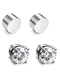 JOERICA 2-4 Pairs Stainless Steel Magnetic Stud Earrings for Men Women Non Piercing Clip on CZ Earrings 6-8MM