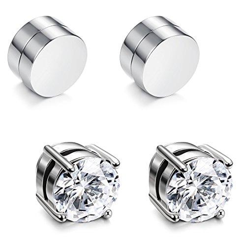 JOERICA 2 Pairs Stainless Steel Magnetic Stud Earrings for Men Women Non Piercing Clip on CZ Earrings Silver-tone 6MM