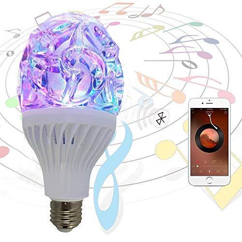 LED Bluetooth Light Bulb, Music Bulb, Rotating Night Light, E27 White and RGB Color Smart Night Light Bulb, with Home Remote Control, Party-1PK