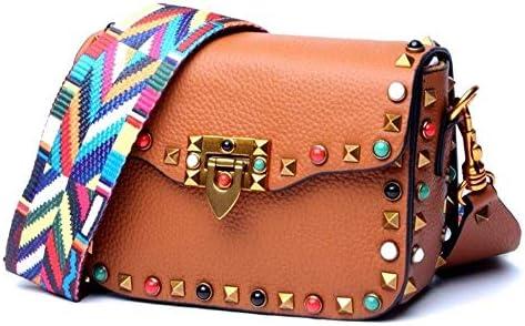 HEMFV 女性と女の子のためのクロスボディファッションシングルショルダーPUレザーサイド財布メッセンジャーバッグハンドバッグ (Color : Brown)