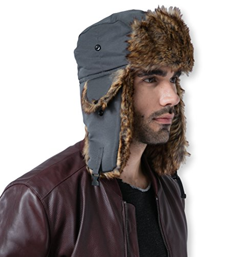 Tough Headwear Trapper Hat with Faux Fur & Ear Flaps - Ushanka Aviator Russian Hat for Serious Expeditions & Serious Style. Waterproof, Windproof & Thermal Shell for Winter Warmth - (Eskimo Faux Fur)