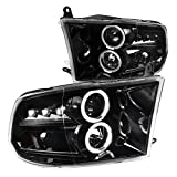 Dodge Ram 1500 2500 3500 Pickup Jet Black LED Dual Halo Projector Headlights