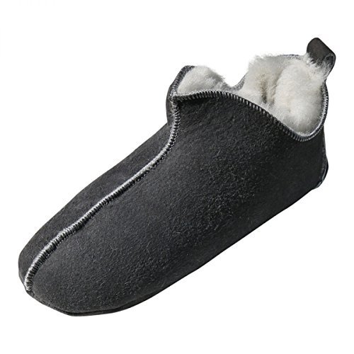 Lamb Wool House Shoes - BALI Fur shoes Slippers Slippers Sheepskin Real leather Unisex - Grey, 46 EU
