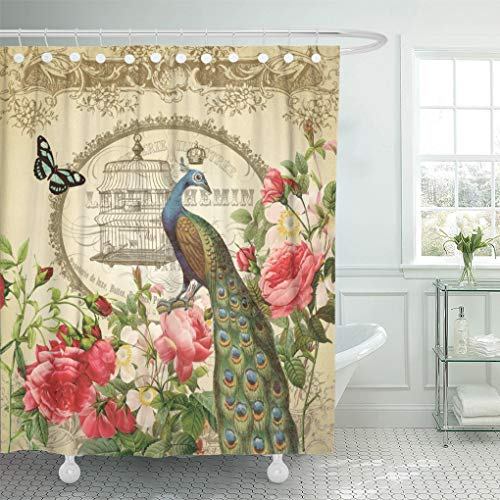 Semtomn Shower Curtain Crown Vintage French Peacock Birdcage Butterfly Rose Floral Shabbychic 66