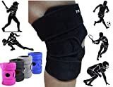 Premium Knee Brace Support. The Best Knee Protection When Running, Jumping, Climbing, Biking, Playing Football, Sport . . . For Men & Women, Boys & Girls. One Size Adjustable Fix All. (Black)