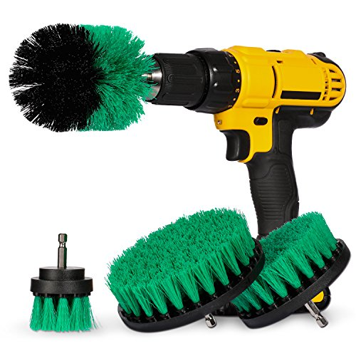 (4 Piece Power Scrubber Drill Brush Attachment Set for Cleaning - All Purpose Drill Scrub Brushes for Bathroom, Grout, Shower, Tub, Floor, Tile, Corners and Kitchen Surfaces )