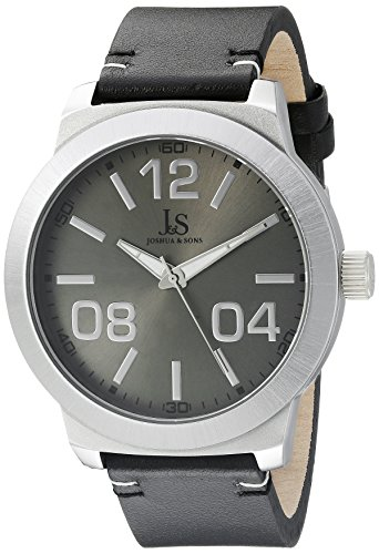 Joshua & Sons Men's JX103SS Silver Quartz Watch with Gray Dial and Black Leather Strap