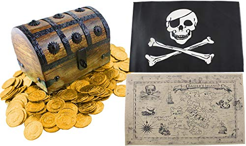 WellPackBox Wooden Treasure Chest Box 6.5 x 4.5 x 5 Gold Coins Pirate Flag for Boys Kids Girls - Santa Jolly Old Miniature