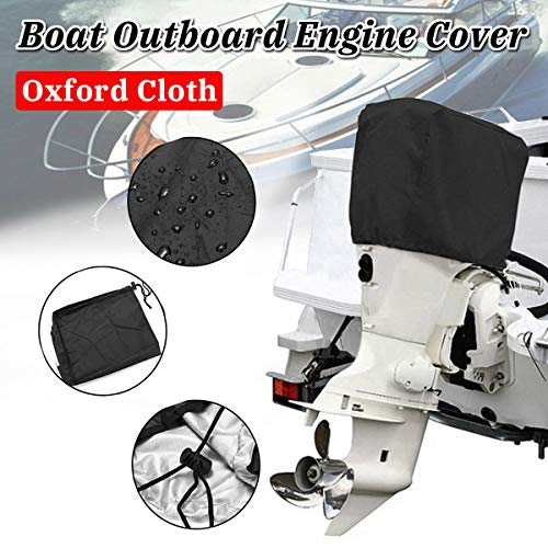 NEVERLAND Outboard Motor Engine Cover Waterproof 210D Oxford Fabric Black Hood Cover Up to 100-150HP