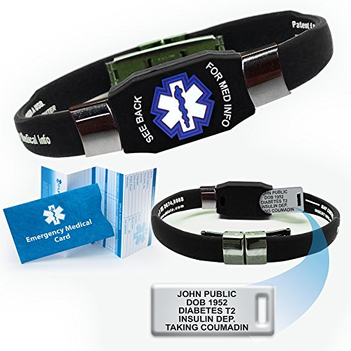 Waterproof Elite Medical ID Bracelet (incl. 10 lines of engraving on acrylic plate. Choose Your Color! ()