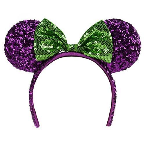 Disney Halloween Purple Green Minnie Mouse Headband Ears -