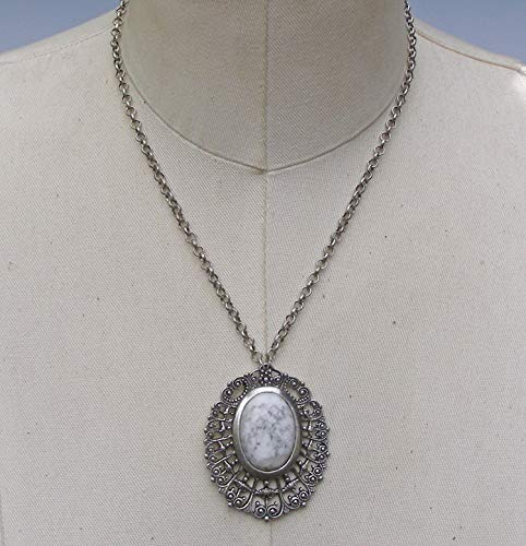 Victorian Vintage Style Bold Filigree White Howlite Statement Necklace