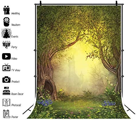 YEELE Enchanted Forest Backdrop 8x10ft Magical Fairy Forest Opening with Castle Photography Background Wonderland Theme Birthday Party Kids Artistic Portrait Photobooth Props Digital Wallpaper