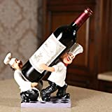 Cheap OLizee Chef Help Each Other Resin Decorative Wine Bottle Holder Rack Set of 26219CM