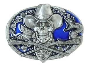 Pewter Belt Buckle - Cowboy Skull - Pewter Belt Buckle