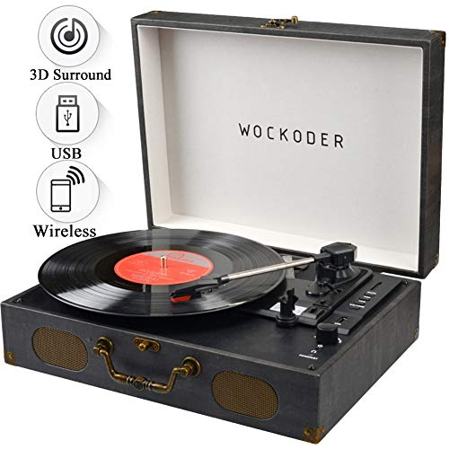 Record Player Turntable for Vinyl Record LP Record Player Portable Turntable with Speakers Wireless Turntable Player Support USB SD Phonograph Suitcase Unique Design (Best Rated Portable Turntable With Speakers)