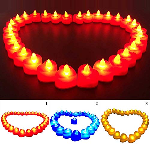(Fansport 24PCS Christmas Tea Lights Heart Shape LED Candle Flameless Candle for Party)