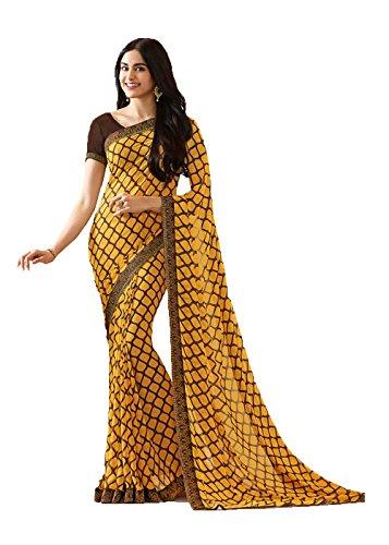 Nozze Di Tradizionale Donne Indossare 3 Progettista Sari Sari Facioun Giallo Partito Da Le Indiani Etnica Per YR40TTHq