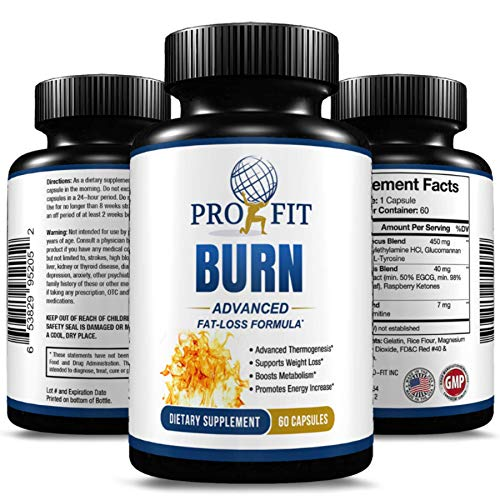 Burn Advanced Fat Loss Diet Formula - Thermogenesis Promotes Energy Focus and Weight Loss - Appetite Suppressant - Natural Thermogenic Fat Burning Supplement - Quality Fat Burner