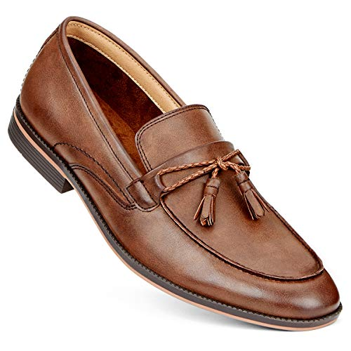 GM GOLAIMAN Men's Dress Shoes Slip On Modern Moc Toe Tassel Driving Shoe Work Loafer Brown -