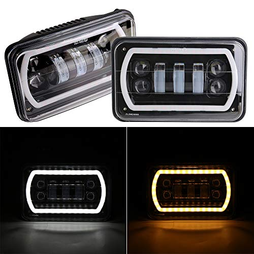 - HOZAN 2pcs 4x6 Sealed Beam Rectangular LED Headlight with White/Amber Halo Ring for Pickup Truck Chevy GMC Kenworth RV