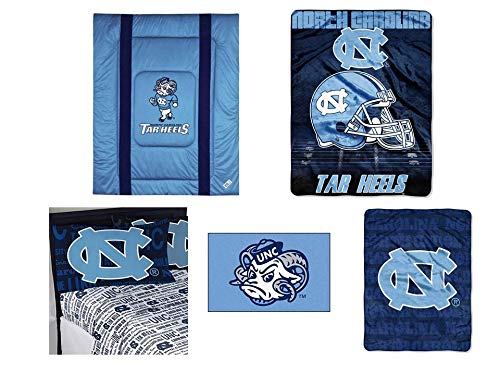 NCAA North Carolina Tar Heels Sidelines 8pc Ensemble: Includes full/queen comforter, full flat sheet, full fitted sheet, 2 pillowcases, rug, throw, and blanket ()