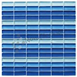 Box 10 Tiles Shades Of Blue Glass Mosaic Tile 12''x12'' VERONA-GL019 (10)