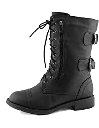 Women's Combat Military Cowboy Mid Calf Rubber Sole Lace up Ankle Buckles Strap Stean Punk Round Toe Flat Heel Motorcycle Casual Combat Boots Fashion Designer Comfort Shoes,10 B(M) US,Premium Black