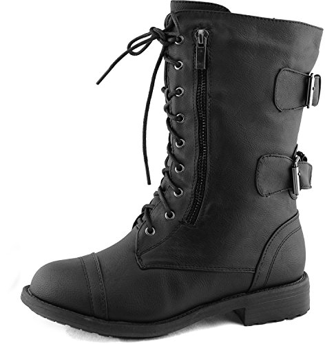 Top Moda Pack-72 Black Military Lace up Mid Calf Combat Boot (8 B(M) US, Black) ()