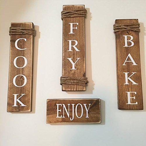 Rustic Set Of 4 Wooden Kitchen Signs Cook / Fry / Bake / Enjoy