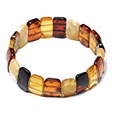 Colorful And Elegant Handmade Vintage Amber Bracelet - 100% Authentic Baltic Amber - Elastic