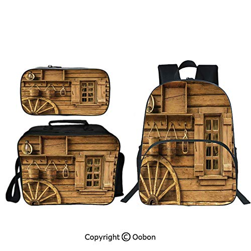 Oobon Kids Toddler School Waterproof 3D Cartoon Backpack, Wagon Wheel next to a Rustic Wooden House with Vintage Lantern Window and Retro Buckets, with Lunch bag Pencil bag Three-piece - Wagon Refrigerator